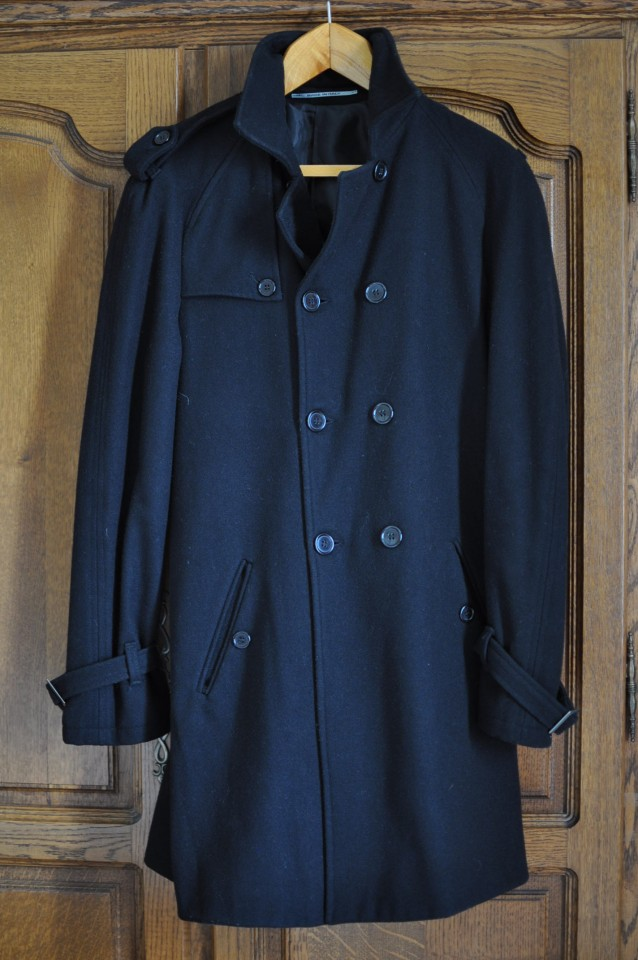 Manteau Trench-Coat Noir Laine Homme Taille 50 / M.
