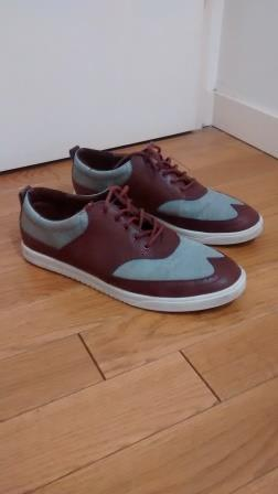 Baskets Clae grise/bordeaux