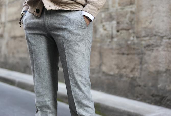 Pantalon en flanelle grise de la ligne Bonne Gueule BG en taille 44