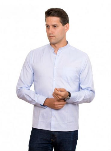 chemise-mao-oxford-bleu-bze
